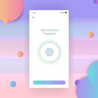 Mobile screen dasboard apps gradient fingerprint free vector