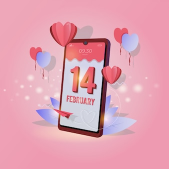 Mobile screen display with february 14 for valentine's day greetings