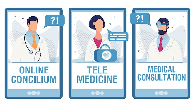 Mobile screens set with online medical services