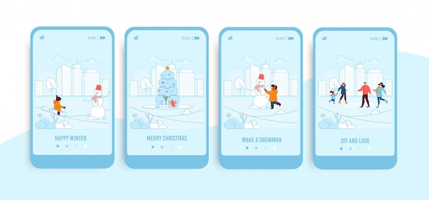 Mobile screens with trendy winter landing page set