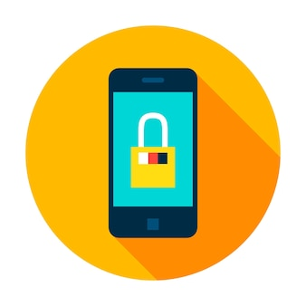 Mobile secure circle icon. vector illustration flat style with long shadow.