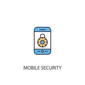 モバイルセキュリティコンセプト2色の線のアイコン。シンプルな黄色と青の要素のイラスト。モバイルセキュリティコンセプト概要シンボルデザイン