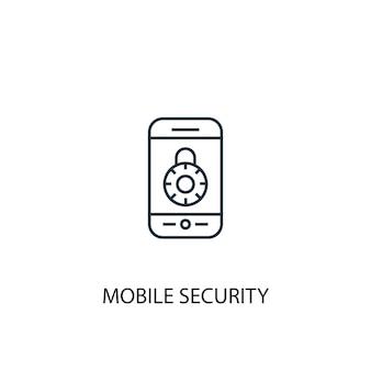 モバイルセキュリティコンセプトラインアイコン。シンプルな要素のイラスト。モバイルセキュリティの概念の概要シンボルデザイン。 webおよびモバイルui / uxに使用できます