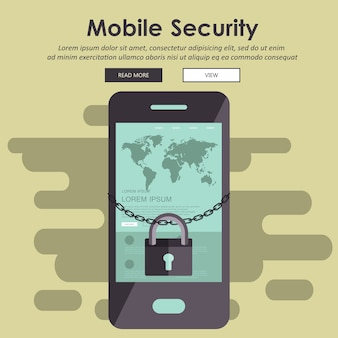 Mobile security, data security concept