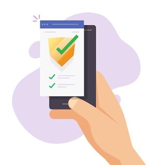 携帯電話アプリでオンラインのモバイルセキュリティ検証チェックデジタルテストスキャン Premiumベクター