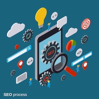 Mobile seo optimization vector concept