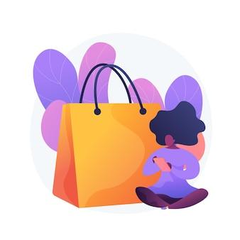 モバイルショッピング中毒。大売り出し、オンライン卸売、低価格売り切れのアイデアデザイン要素。デジタルストアの顧客、買い物好きのスマートフォンを持っています。