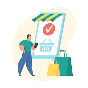 모바일 쇼핑 어플리케이션입니다. 주문 배치 평면 벡터 아이콘 개념 그림입니다. 화면에 쇼핑 카트가 있는 거대한 스마트폰 근처에 서 있는 남성 만화 캐릭터