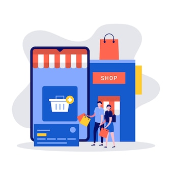 Концепция мобильных покупок с персонажами, большим смартфоном и магазином.
