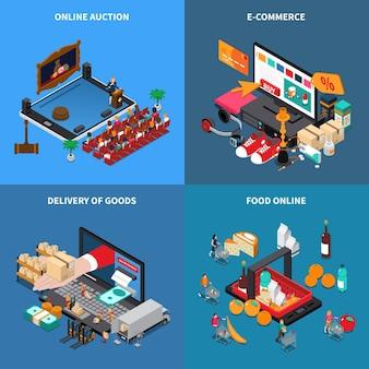 Мобильный шоппинг. концепция электронной коммерции. 4 изометрических композиции с онлайн-продажей продуктов питания.