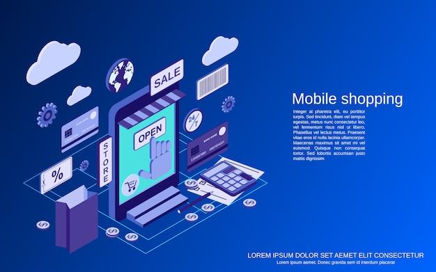 モバイルショッピングフラット3dアイソメトリックコンセプトイラスト