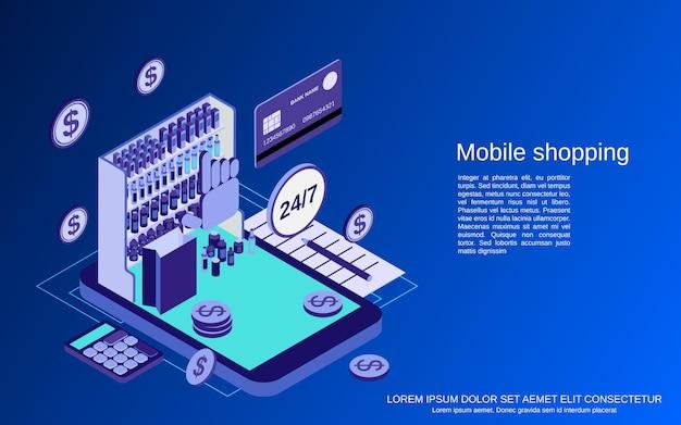 Мобильные магазины плоские 3d изометрические векторные иллюстрации концепции
