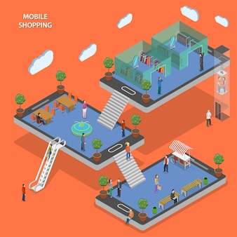 Mobile shopping flat isometric concept.