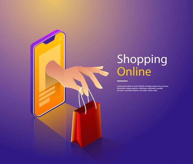 Mobile shopping flat vector concept