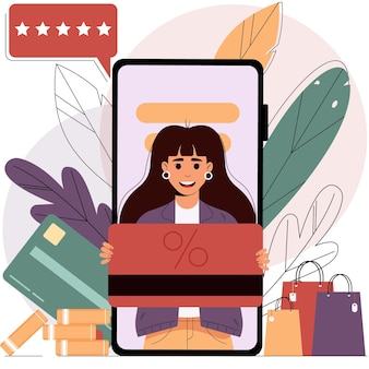 Mobile shopping from a smartphoneonline shopping concept sale isolated vector illustration