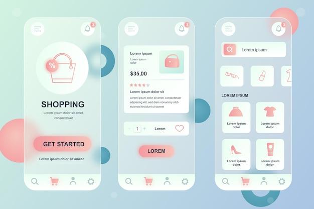 Набор нейморфных элементов стекломорфного дизайна для мобильных покупок для мобильного приложения ui ux gui screen set