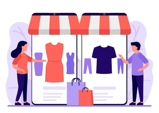 Mobile shopping shop to online man and woman buy in online store through phone app online shopping