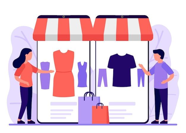 モバイルショッピングショップからオンラインへ男性と女性は電話アプリのオンラインショッピングを通じてオンラインストアで購入します