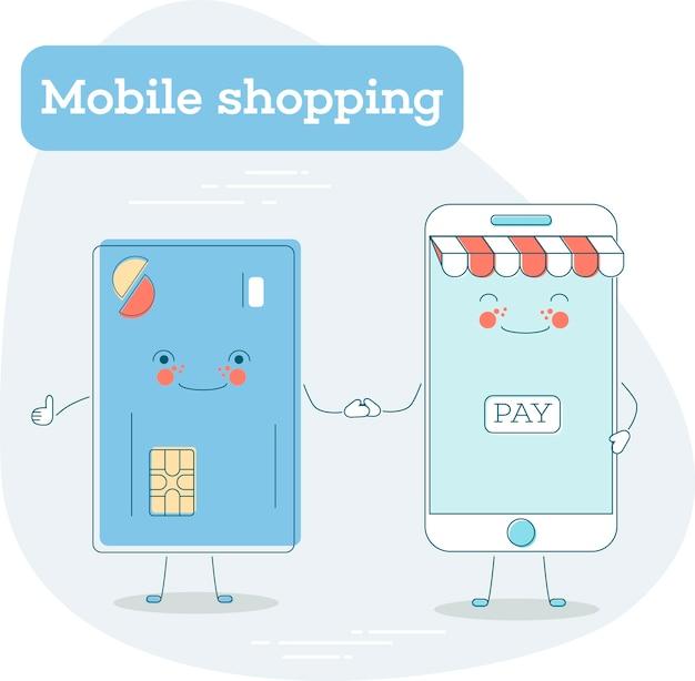 Модная концепция мобильных покупок в стиле арт. банковское дело и финансы, услуги электронной коммерции, бизнес-технологии, розничная торговля и распространение. иллюстрация забавных персонажей кредитной карты и смартфона