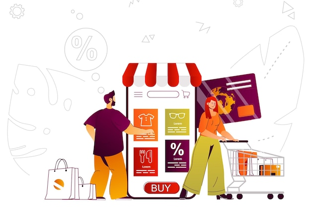 Mobile shopping web concept mobile app purchases online shopping at smartphone
