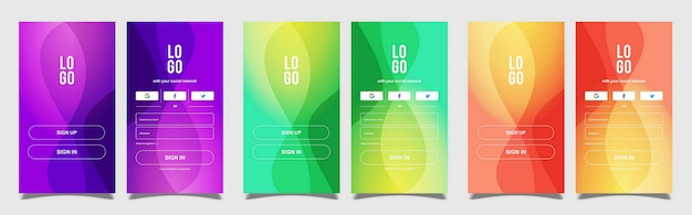 Mobile sign in and sign up with background colorful