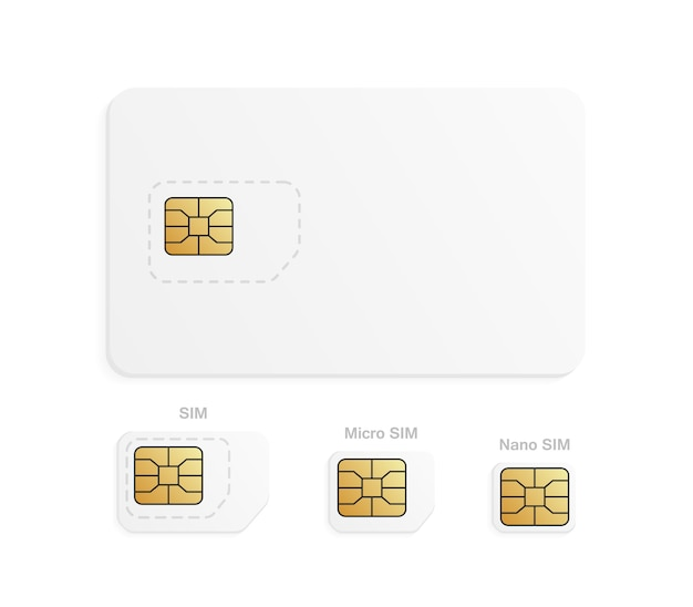 Mobile sim card cellular phone card chip illustration
