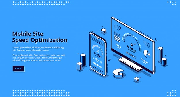 Mobile site speed optimization isometric landing