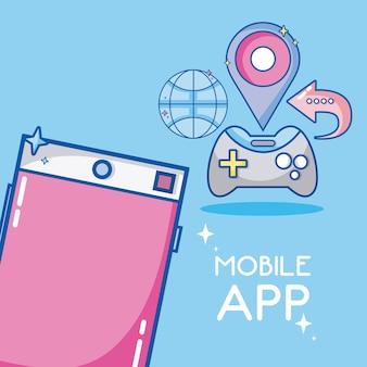 Mobile smartphone applications cartoon symbols