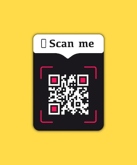 Mobile smartphone qr code button application with scan me sign icon. scan qr code for payment. vector illustration