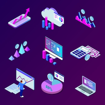 Mobile smartphone services cloud concept with isometric application buttons set illustration business data analytics