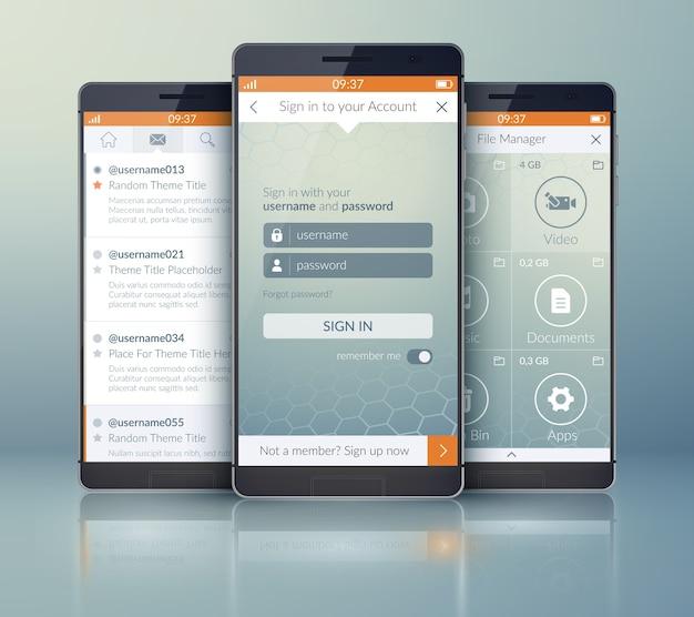 다른 웹 요소와 아이콘으로 모바일 소셜 애플리케이션 디자인 컨셉