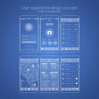 Concetto di design dell'esperienza utente dell'applicazione sociale mobile nell'illustrazione piatta di colore blu