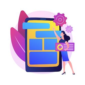 モバイルソフトウェアの最適化、ui、ux開発。スマートフォンアプリのインターフェース設計。 devops、現代のガジェットのアプリケーションを作成する女性。