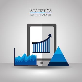 Mobile statistics data analytics process chart