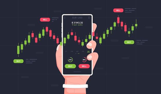 Мобильная торговля на фондовом рынке мужская рука держит смартфон с торговыми графиками