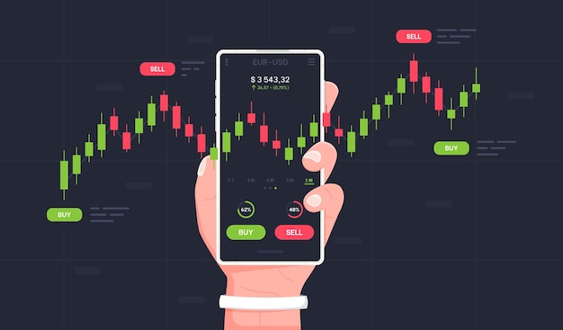 Mobile stock market trading mans hand holds a smartphone with trade charts