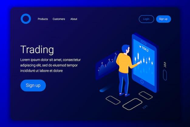 Концепция мобильной торговли акциями. мужчина смотрит на аналитику в приложении для смартфона. плоский 3d стиль. шаблон целевой страницы. иллюстрации.