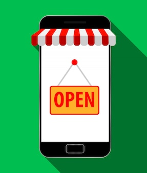 Mobile store concept, online shopping. vector illustration.