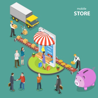 Mobile store flat isometric low poly vector concept.