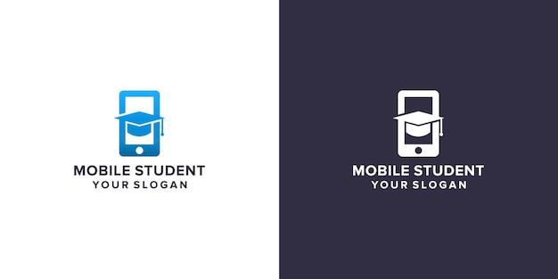Шаблон логотипа мобильного студента