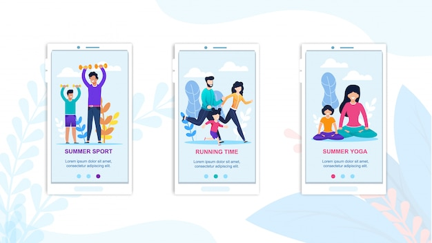Mobile summer sport, running and yoga exercising landing page.