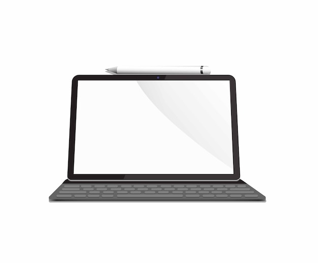Mobile tablet with keyboard and stylus pen concept realistic illustration