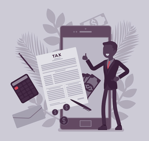 Mobile tax payment service for businessman. male taxpayer making financial contribution on smartphone, employer calculating total income and earning online, vector illustration with faceless character