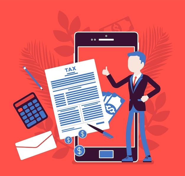 사업가를 위한 모바일 세금 납부 서비스. 스마트폰으로 재정적 기여를 하는 남성 납세자, 총 소득을 계산하고 온라인으로 수입하는 고용주, 얼굴 없는 캐릭터가 있는 벡터 일러스트레이션
