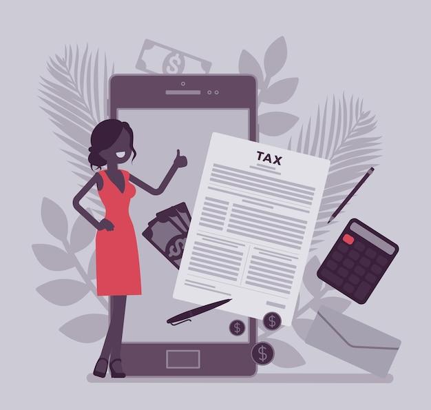 사업가를 위한 모바일 납세 서비스. 여성 납세자는 스마트폰을 통해 재정적 기여를 하고 고용주는 총 소득을 계산하고 온라인으로 수입을 올립니다. 벡터 일러스트 레이 션, 얼굴 없는 캐릭터