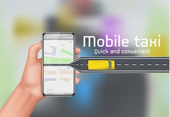 Mobile taxi concept background. Human hand holding smartphone with city map