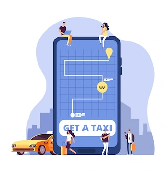 Mobile taxi. online taxi service and payment with smartphone app. people ordering taxi at huge cell phone.