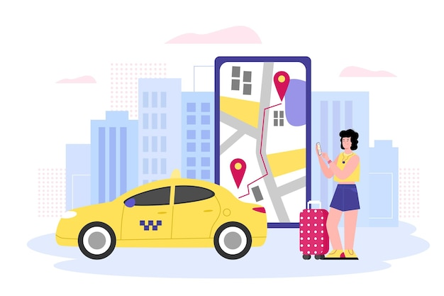 Mobile taxi online with traveling woman flat vector illustration isolated
