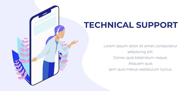 Mobile technical support  banner with text