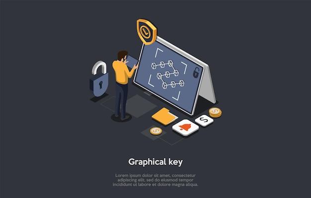 모바일 기술, 장치 보안, 그래픽 핵심 개념. 남성 캐릭터가 그래픽 키를 그리는 장치를 잠금 해제합니다. 큰 태블릿 화면에서 그래픽 키 요청.
